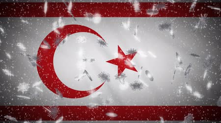 turkse vlag : Turkish Republic of Northern Cyprus flag falling snow loopable, New Year and Christmas background, loop.