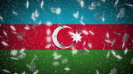 baku : Azerbaijan flag falling snow loopable, New Year and Christmas background, loop. Stock Footage