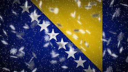 herzegovina : Bosnia and Herzegovina flag falling snow loopable, New Year and Christmas background, loop. Stock Footage