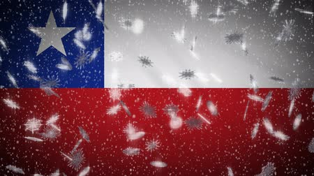 チリ : Chile flag falling snow loopable, New Year and Christmas background, loop.
