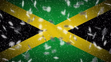 jamaique : Jamaica flag falling snow loopable, New Year and Christmas background, loop.