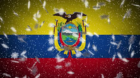 quito : Ecuador flag falling snow loopable, New Year and Christmas background, loop.