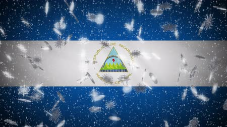 nicaraguan : Nicaragua flag falling snow loopable, New Year and Christmas background, loop.