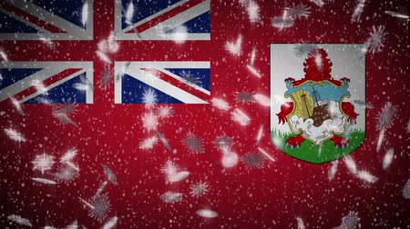 bermudas : Bermuda flag falling snow loopable, New Year and Christmas background, loop.