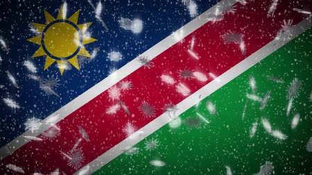 Намибия : Namibia flag falling snow loopable, New Year and Christmas background, loop. Стоковые видеозаписи