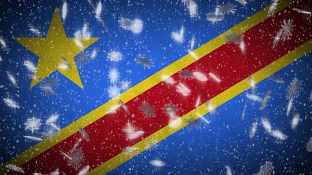 demokratický : Democratic Republic of Congo flag falling snow loopable, New Year and Christmas background, loop.