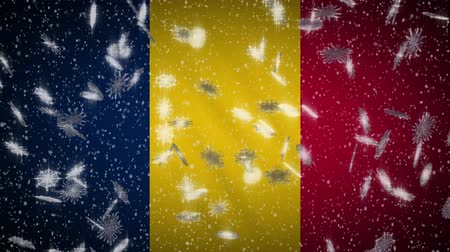 чад : Chad flag falling snow loopable, New Year and Christmas background, loop.