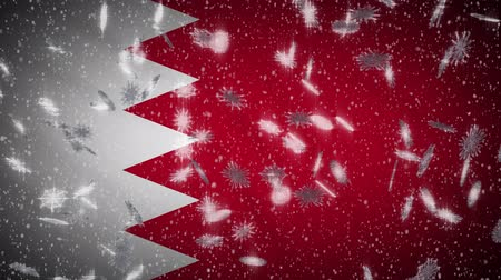 monarchy : Bahrain flag falling snow loopable, New Year and Christmas background, loop.
