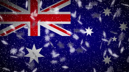 aussie : Australia flag falling snow loopable, New Year and Christmas background, loop.
