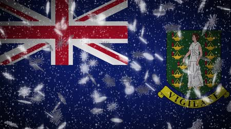 rhode : British Virgin Islands flag falling snow loopable, New Year and Christmas background, loop.
