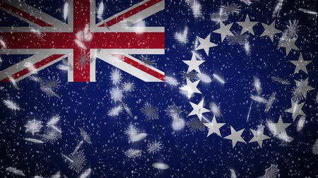 avarua : Cook Islands flag falling snow loopable, New Year and Christmas background, loop.