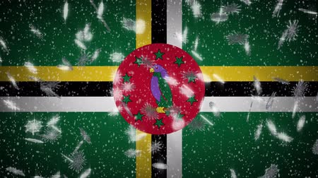 společenství : Dominica flag falling snow loopable, New Year and Christmas background, loop.