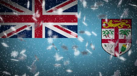 suva : Fiji flag falling snow loopable, New Year and Christmas background, loop.
