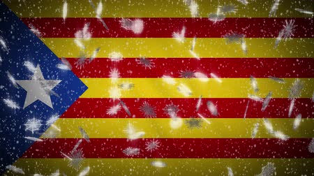 katalán : Blue estelada flag falling snow loopable, New Year and Christmas background, loop.