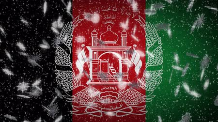 afghan : Afghanistan flag falling snow loopable, New Year and Christmas background, loop. Stock Footage
