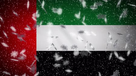 pano : United Arab Emirates flag falling snow loopable, New Year and Christmas background, loop.