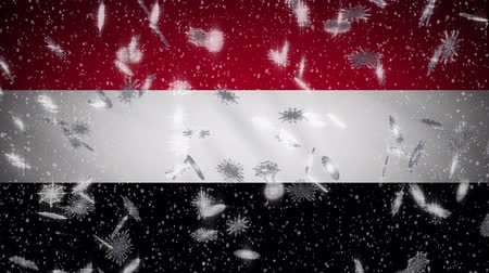 yemen : Yemen flag falling snow loopable, New Year and Christmas background, loop. Stock Footage