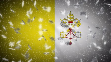 vatikan : Vatican flag falling snow loopable, New Year and Christmas background, loop.
