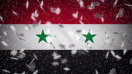 damasco : Syria flag falling snow loopable, New Year and Christmas background, loop.