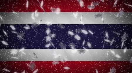 monarchy : Thailand flag falling snow loopable, New Year and Christmas background, loop.