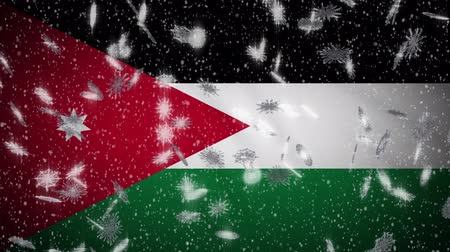 Ürdün : Jordan flag falling snow loopable, New Year and Christmas background, loop. Stok Video