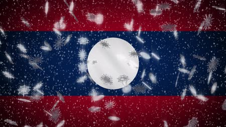 vientiane : Laos flag falling snow loopable, New Year and Christmas background, loop. Stock Footage