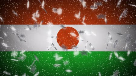niger : Republic of Niger flag falling snow loopable, New Year and Christmas background, loop.