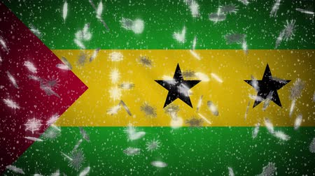 tome : Sao Tome and Principe flag falling snow loopable, New Year and Christmas background, loop. Stock Footage