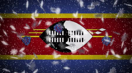 eswatini : eSwatini - Swaziland flag falling snow loopable, New Year and Christmas background, loop. Stock Footage