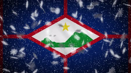 eustatius : Sint Eustatius flag falling snow loopable, New Year and Christmas background, loop.