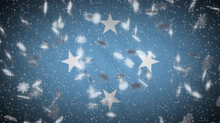 spotlights : Micronesia flag falling snow loopable, New Year and Christmas background, loop.