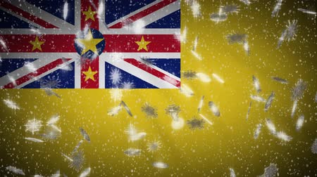 savage : Niue flag falling snow loopable, New Year and Christmas background, loop.