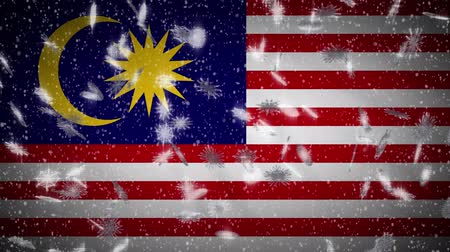 kalimantan : Malaysia flag falling snow loopable, New Year and Christmas background, loop.