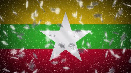 mianmar : Myanmar flag falling snow loopable, New Year and Christmas background, loop.