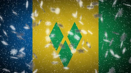 monarchie : Saint Vincent and the Grenadines flag falling snow loopable, New Year and Christmas background, loop.