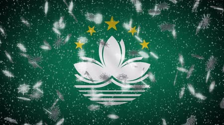 lễ kỷ niệm : Macau flag falling snow loopable, New Year and Christmas background, loop.