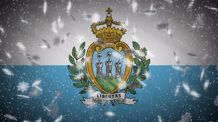 katolicizmus : San Marino flag falling snow loopable, New Year and Christmas background, loop.
