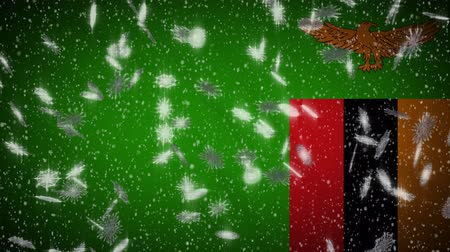 republic of zambia : Zambia flag falling snow loopable, New Year and Christmas background, loop.