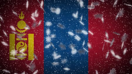 yin and yang : Mongolia flag falling snow loopable, New Year and Christmas background, loop.