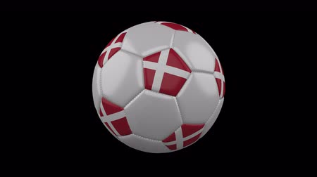 costuras : Denmark flag on a ball rotates on a transparent background, 4k prores footage with alpha transparency, loop