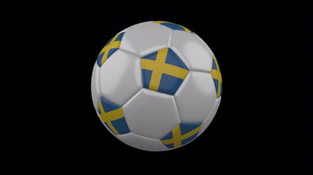 švédský : Sweden flag on a ball rotates on a transparent background, 4k prores footage with alpha transparency, loop