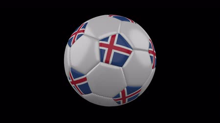 reykjavik : Iceland flag on a ball rotates on a transparent background, 4k prores footage with alpha transparency, loop