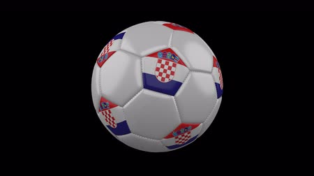 ザグレブ : Croatia flag on a ball rotates on a transparent background, 4k prores footage with alpha transparency, loop
