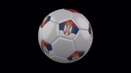sérvia : Serbia flag on a ball rotates on a transparent background, 4k prores footage with alpha transparency, loop Vídeos