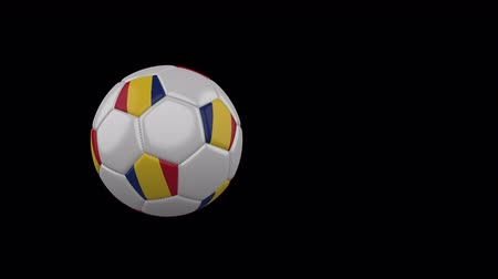 루마니아어 : Romania flag on a flying and rotating soccer ball on a transparent background, 4k prores footage with alpha channel