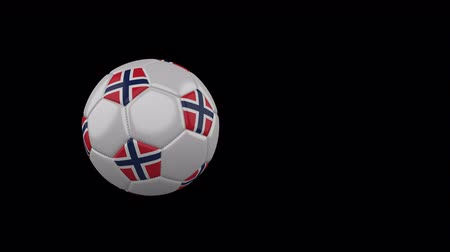 Norway flag on a flying and rotating soccer ball on a transparent background, 4k prores footage with alpha channel