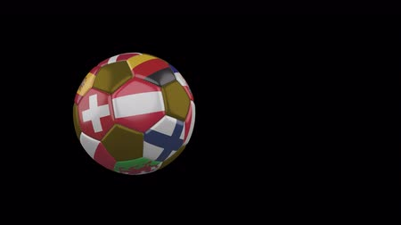 Flags of Euro on slow flying and rotating soccer ball on a transparent background, 4k prores footage with alpha channel
