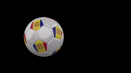 Andorra flag on a flying and rotating soccer ball on a transparent background, 4k prores footage with alpha channel