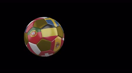 Flags of Euro on a flying and rotating soccer ball on a transparent background, 4k prores footage with alpha channel