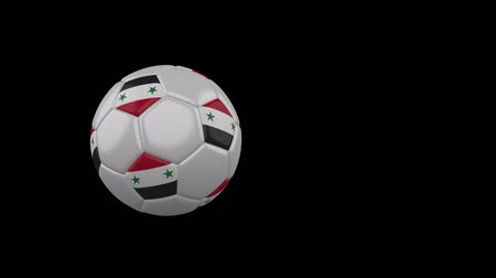 damasco : Syrian Arab Republic flag on a flying and rotating soccer ball on a transparent background, 4k prores footage with alpha channel